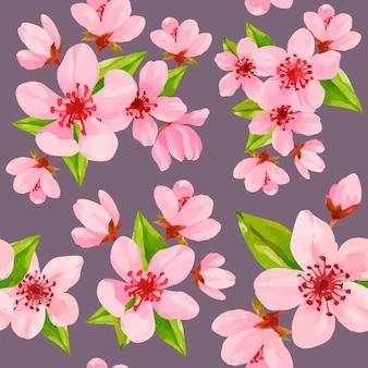 Вишневое дерево цветы акварельный узор