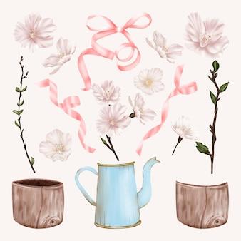 素朴なポットとリボンとチェリーホワイトとピンクの花
