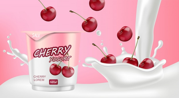 Cherry yogurt with milk splash