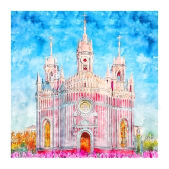 Чесменская церковь россия акварельный эскиз рисованной иллюстрации