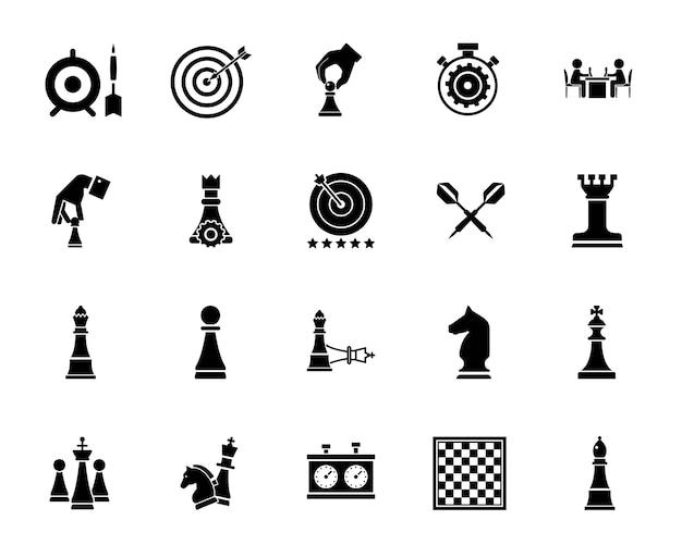 Набор иконок для шахмат и дартс