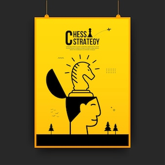 Chess battle competition flyer, concept of business strategy and management