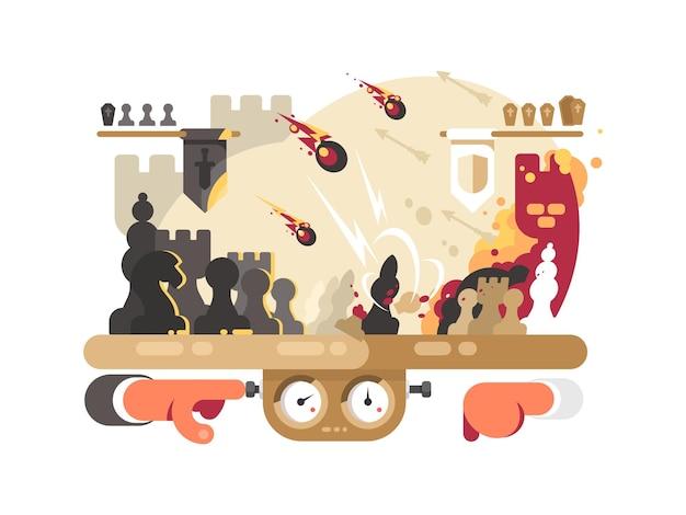Шахматный бой на игровой доске. интеллектуальный игровой бой. векторная иллюстрация
