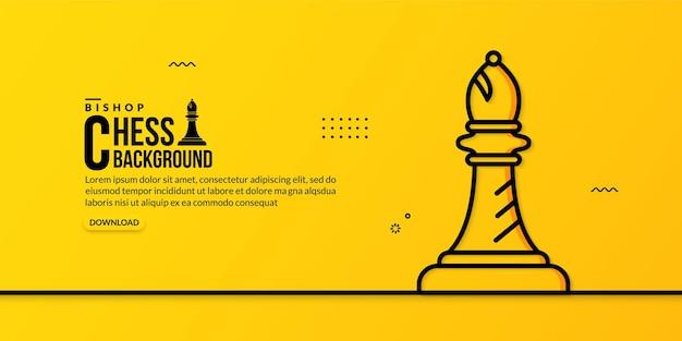 Шахматный слон линейной иллюстрации на желтом