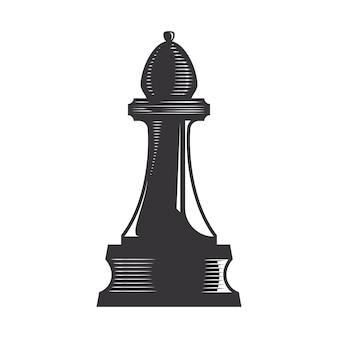 Chess bishop vector line art illustration.