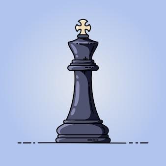 Chess black king vector flat icon