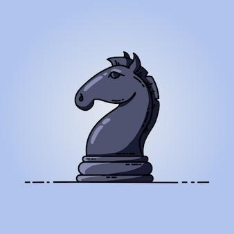 Chess black knight vector flat icon
