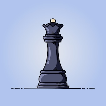 Chess black queen vector flat icon