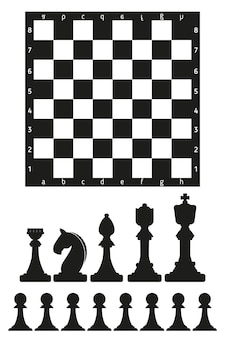 Chess board and black chess pieces design on a white background