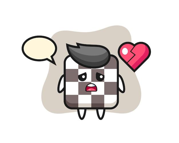 Иллюстрация шаржа шахматной доски - разбитое сердце, милый стиль дизайна для футболки, наклейки, элемента логотипа