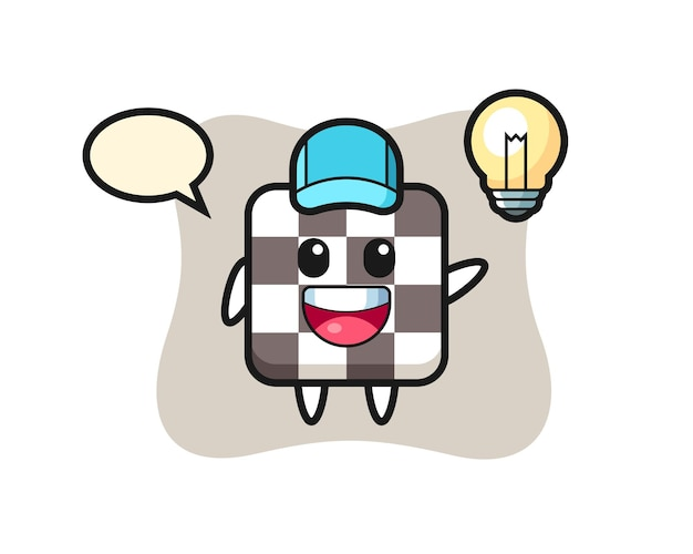 Chess board character cartoon getting the idea , cute style design for t shirt, sticker, logo element