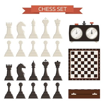 Chess board and chessmen isolated kit