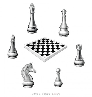 Chess board hand drawing vintage style black and white, isolated.