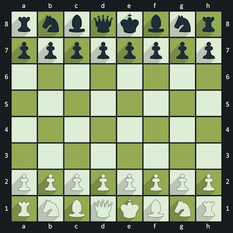 Chess board with figures, flat green style