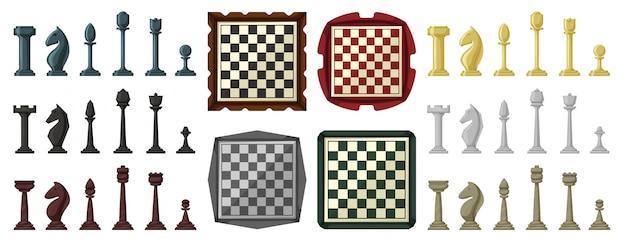 チェスの漫画は、アイコンを設定します。白い背景の上のイラストゲーム。漫画セットアイコンチェス。