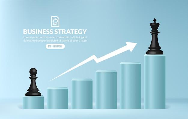 비즈니스 전략 및 관리의 비즈니스 목표 사다리에 도달하기 위해 계단을 오르는 체스