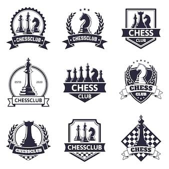체스 클럽 상징. 체스 게임, 체스 토너먼트 로고, 킹, 퀸, 비숍 및 루크 체스 조각