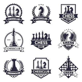 Chess club emblem. chess game, chess tournament logo, king, queen, bishop and rook chess pieces