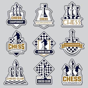 Шахматная эмблема. спортивный клуб логотип с шахматными символами рыцарь пешка ладья офицер силуэты фигур векторные значки. логотип клуба шахматной доски, хобби вызов иллюстрации