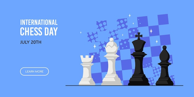 Chess figures against chess board isolated on white background. international chess day banner