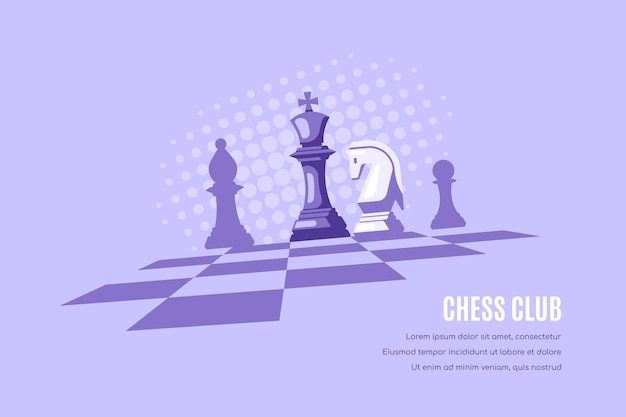 Chess figures on chess board and halftones on background. chess club template.