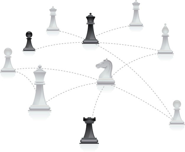 Chess figures connected in a network