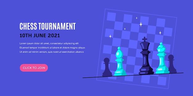 Шахматные фигуры на синем фоне с шахматной доской. шаблон баннера шахматного турнира