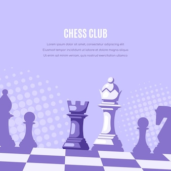 Шахматные фигуры на шахматной доске и полутонах на фоне.
