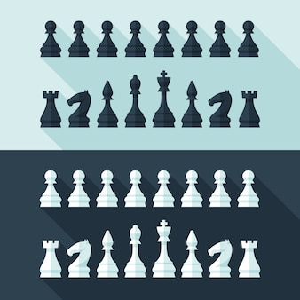Chess figures set in  modern style for  concept and web .  illustration.