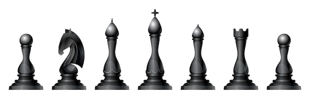 Chess figures vector set. king, queen, bishop, knight or horse, rook and pawn - standard chess pieces. strategic board game for intellectual leisure. black items.