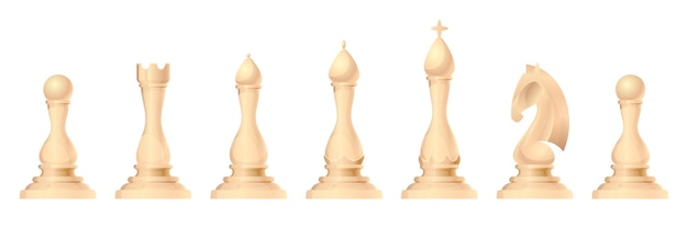 Chess figures vector set. king, queen, bishop, knight or horse, rook and pawn - standard chess pieces. strategic board game for intellectual leisure. white items.