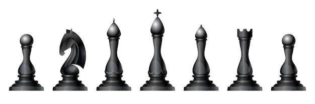 Набор векторных шахматных фигур. король, ферзь, слон, конь или конь, ладья и пешка - стандартные шахматные фигуры. стратегическая настольная игра для интеллектуального досуга. черные предметы.