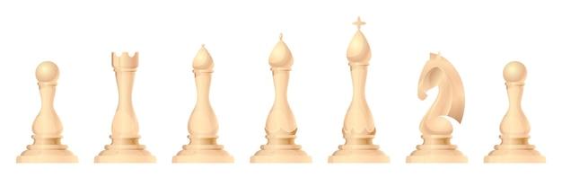 Набор векторных шахматных фигур. король, ферзь, слон, конь или конь, ладья и пешка - стандартные шахматные фигуры. стратегическая настольная игра для интеллектуального досуга. белые предметы.