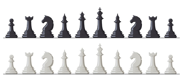 체스 게임. 흑백 체스 말, 킹, 퀸, 비숍, 루크, 나이트 및 폰