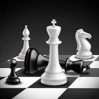 Chess game concept with realistic board and black and white pieces