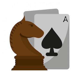 Chess horse piece and leisure cards