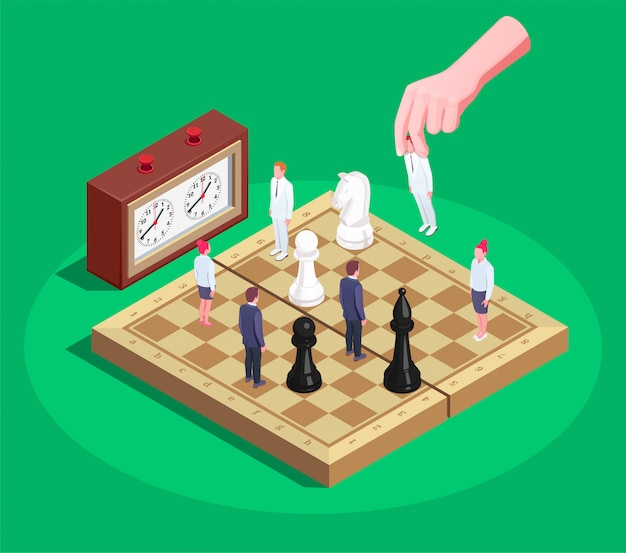 Chess isometric composition