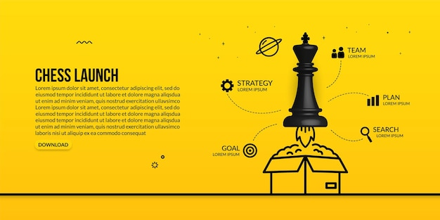 Chess king launching out of the box infographic concept of business strategy and management