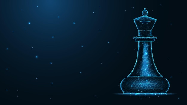 Соединение линии шахматного короля. низкополигональная каркасная конструкция. абстрактный геометрический фон. векторные иллюстрации.