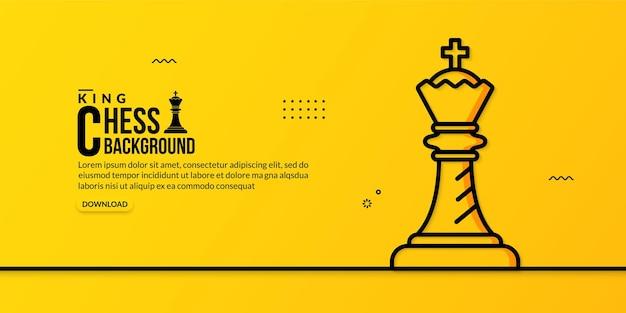 Шахматный король линейная иллюстрация на желтом