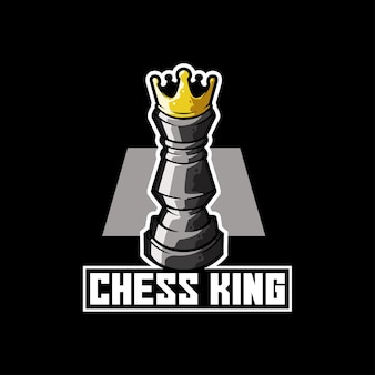 Chess king piece strategy play logo