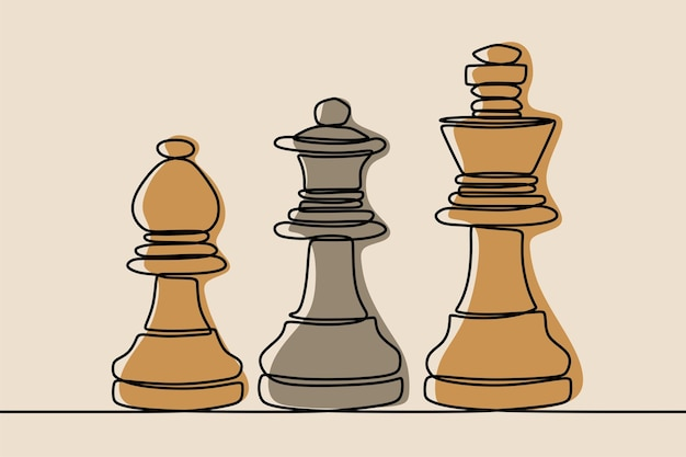 Chess king, queen, bishop oneline continuous line art