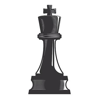 Chess king vector line art illustration.