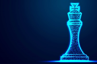 Chess King wireframe Polygon blue frame structure, Business strategy concept design.