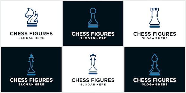 Chess logo icon. game board silhouette vector illustration of a chess piece. chess icon. vector chess. play chess on the board. king, queen, rook, knight, bishop, pawn
