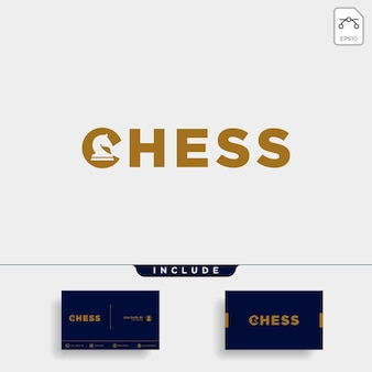 Chess logo type vector design illustration, typography logo for chess with business card include- vector