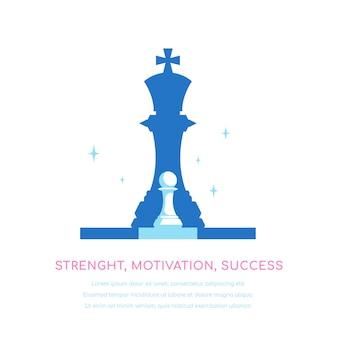 Шахматная пешка, падающая тень королевы. сила, мотивация, успех. концепция лидерства