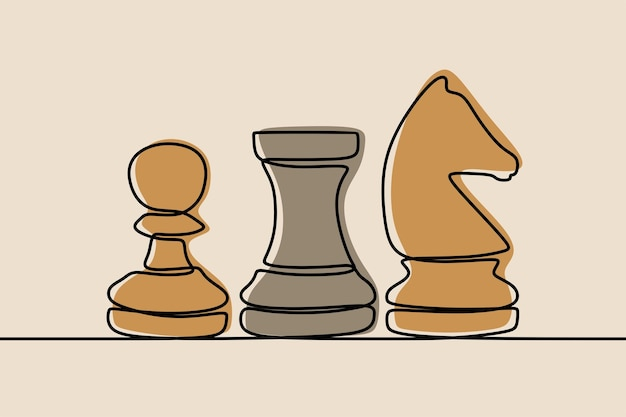 Chess pawn, rook, knight oneline contiuous line art