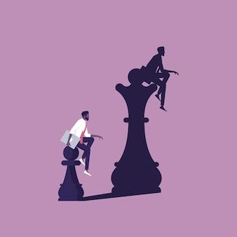 壁に女王の影が描かれたチェスのポーン概念的な夢と自信を持って