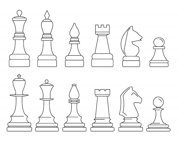 Chess piece icon set
